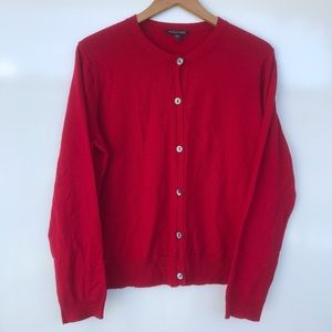 Eileen Fisher Red Button Down Cardigan Sz L